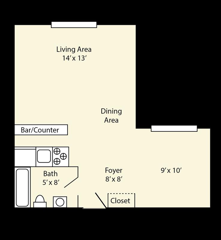 Large Studio Apartments: The Quadrangle Apartments, Carbondale, IL